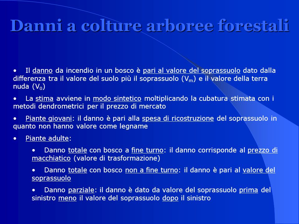 Danni a colture arboree forestali