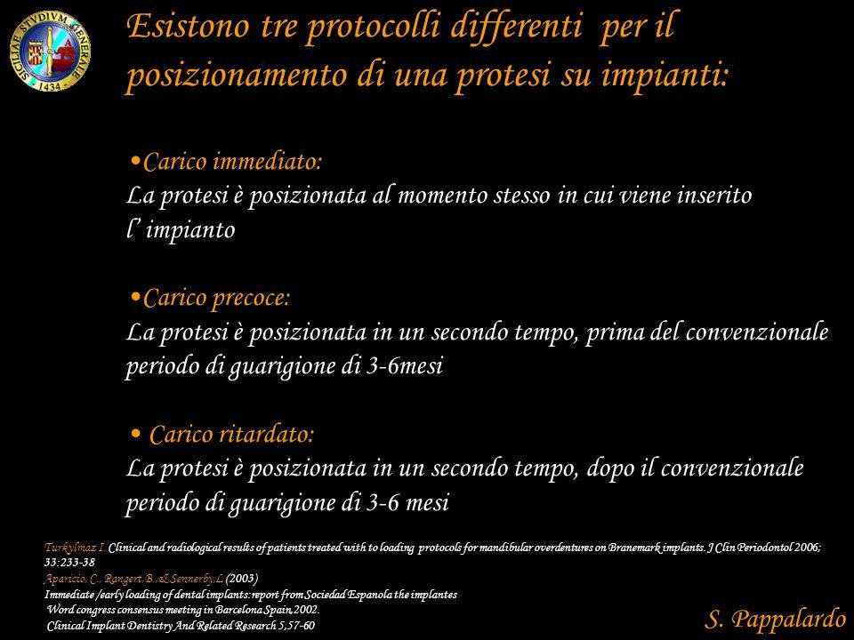 Esistono tre protocolli differenti per il posizionamento di una protesi su impianti: