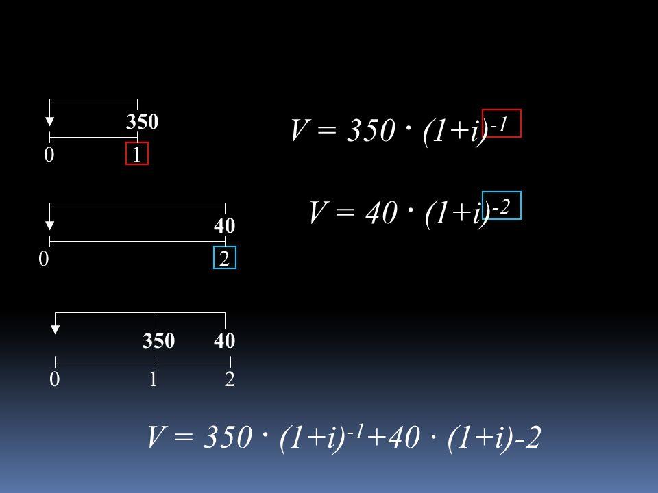 V = 350 · (1+i)-1 V = 40 · (1+i)-2 V = 350 · (1+i)-1+40 · (1+i)-2 350