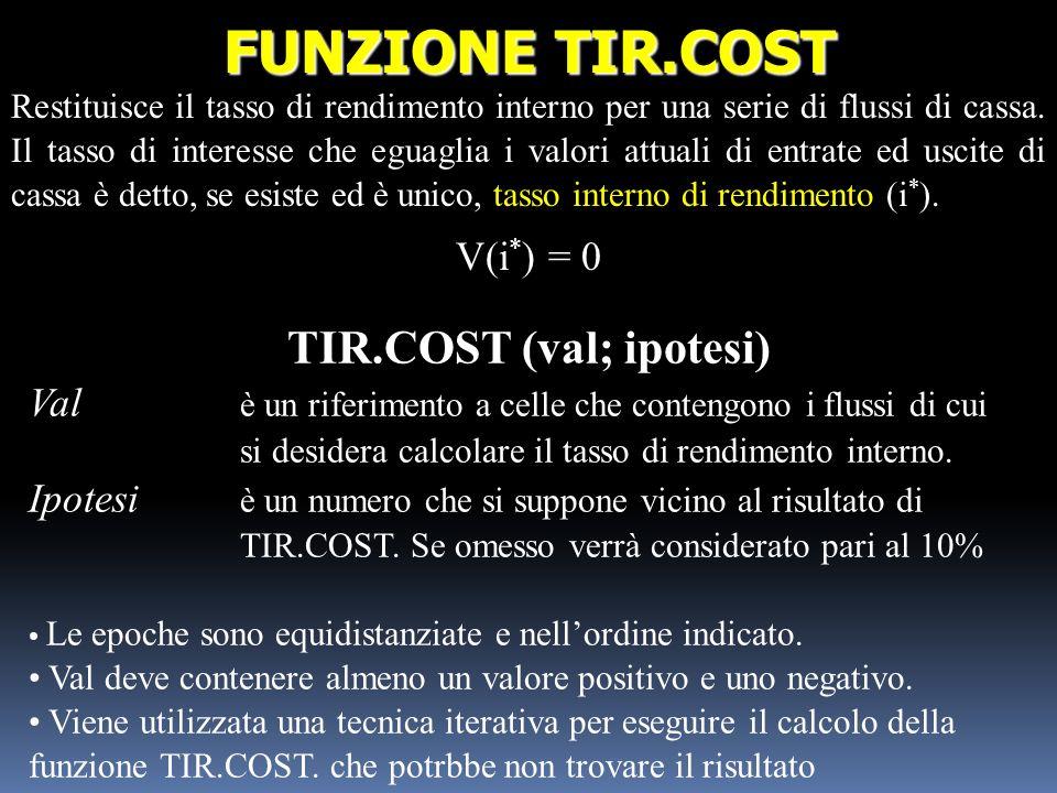 TIR.COST (val; ipotesi)