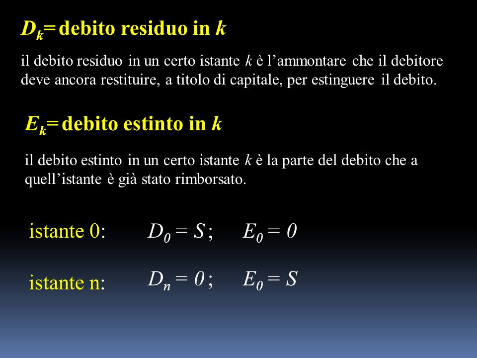 Dk= debito residuo in k Ek= debito estinto in k