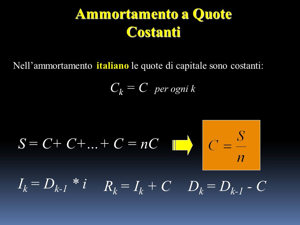 Ammortamento a Quote Costanti