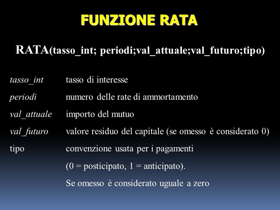 RATA(tasso_int; periodi;val_attuale;val_futuro;tipo)