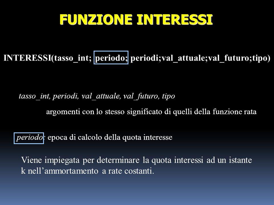 INTERESSI(tasso_int; periodo; periodi;val_attuale;val_futuro;tipo)