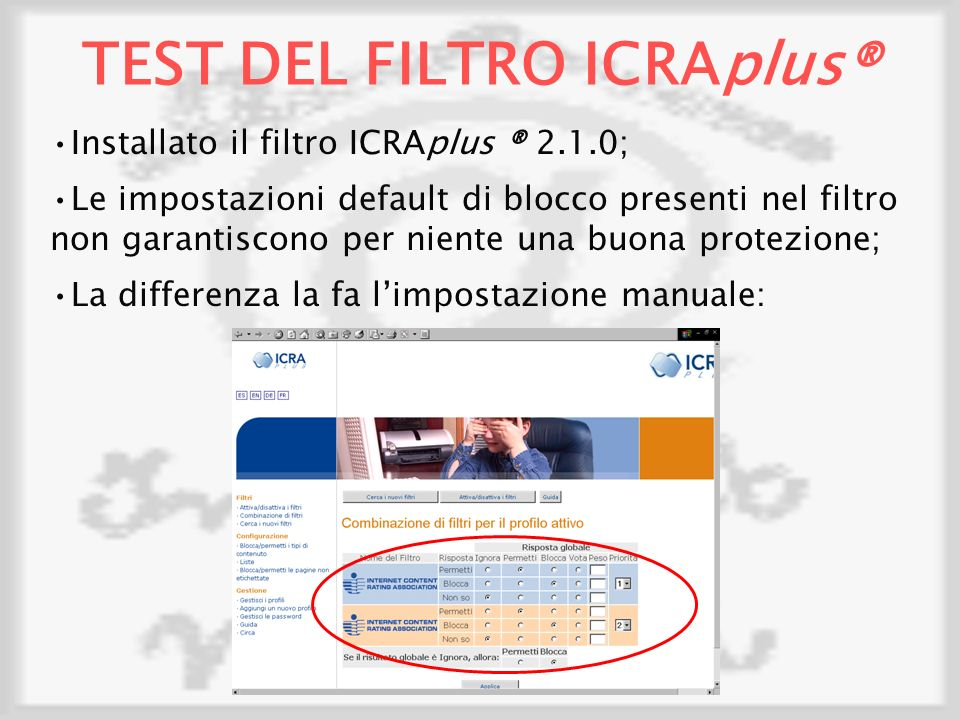 TEST DEL FILTRO ICRAplus®