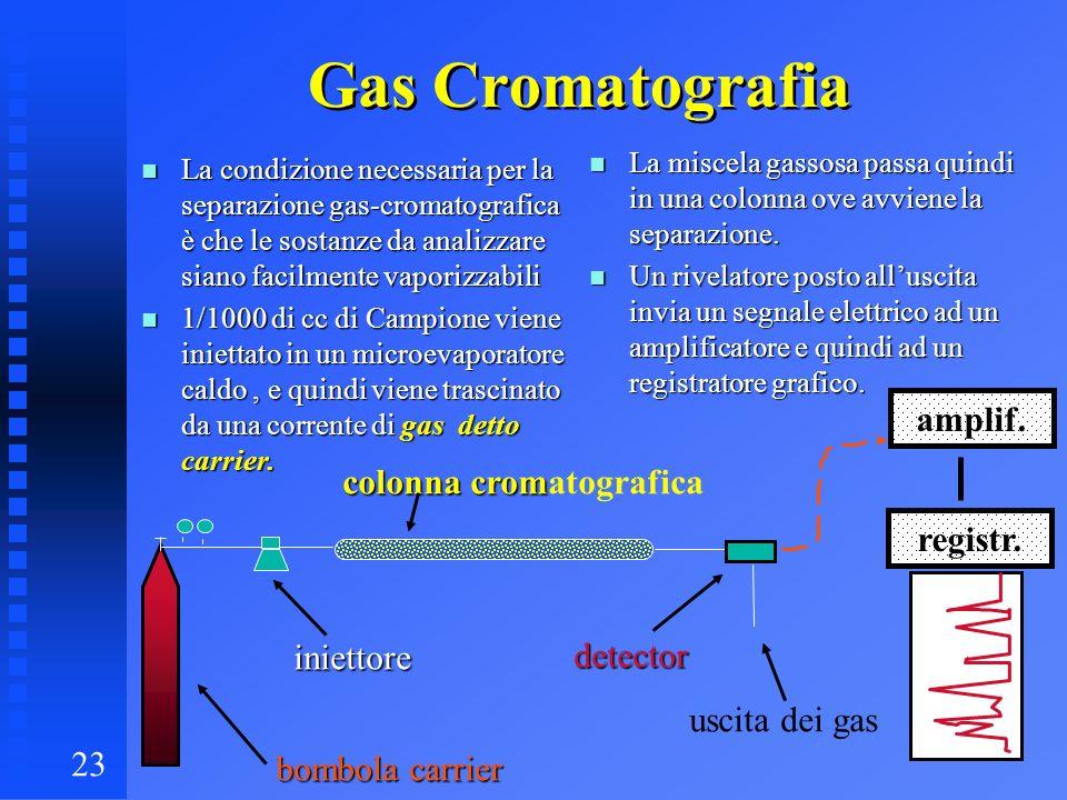 Gas Cromatografia amplif. colonna cromatografica registr. iniettore