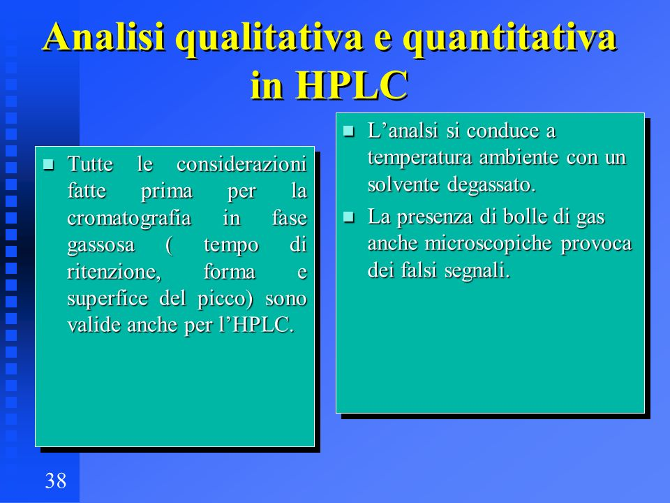 Analisi qualitativa e quantitativa in HPLC