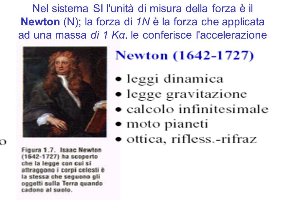 Nel sistema SI l unità di misura della forza è il Newton (N); la forza di 1N è la forza che applicata ad una massa di 1 Kg, le conferisce l accelerazione di 1 m/s2
