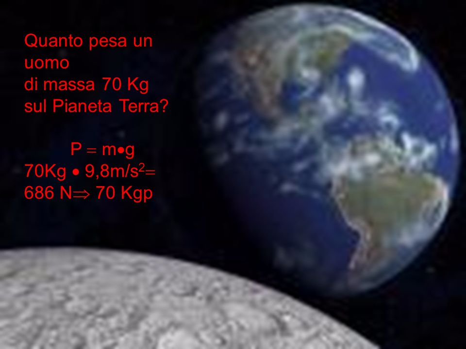 Quanto pesa un uomo di massa 70 Kg sul Pianeta Terra P  mg 70Kg  9,8m/s2 686 N 70 Kgp