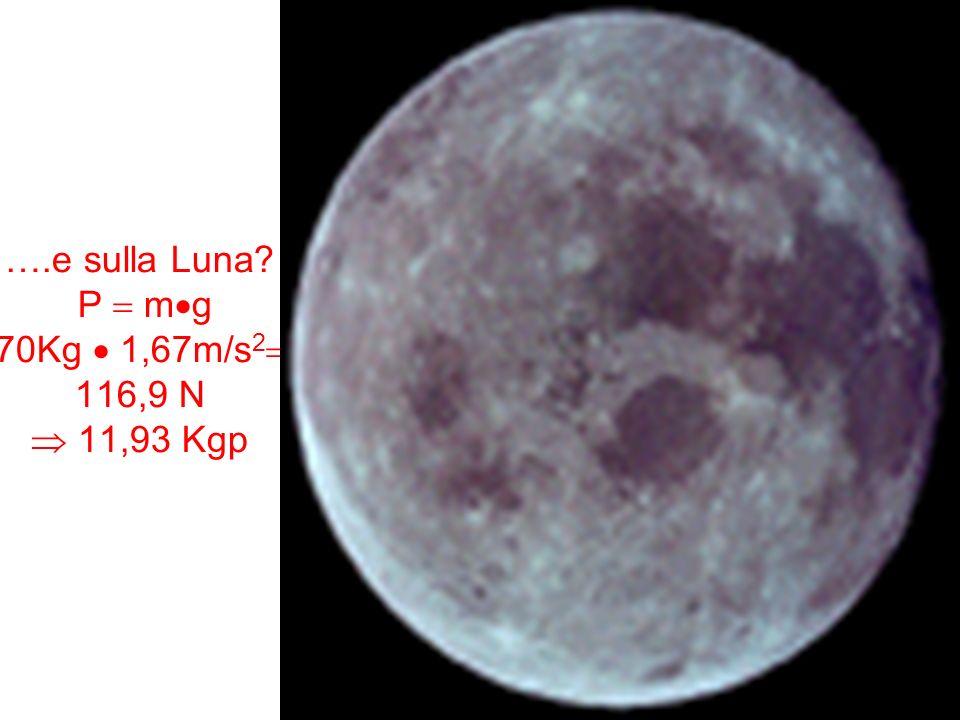 ….e sulla Luna P  mg 70Kg  1,67m/s2 116,9 N  11,93 Kgp