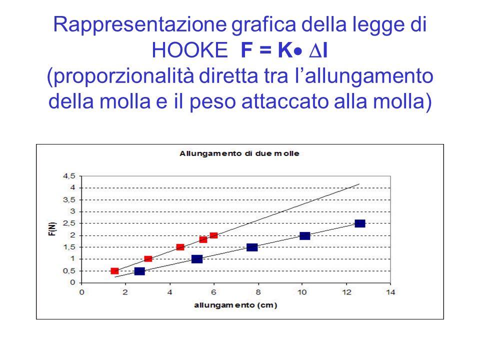 Rappresentazione grafica della legge di HOOKE F = K l (proporzionalità diretta tra l'allungamento della molla e il peso attaccato alla molla)