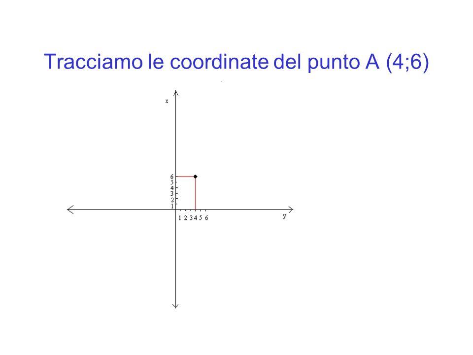 Tracciamo le coordinate del punto A (4;6)