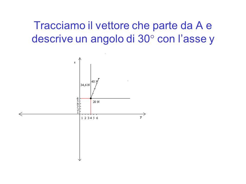 Tracciamo il vettore che parte da A e descrive un angolo di 30 con l'asse y