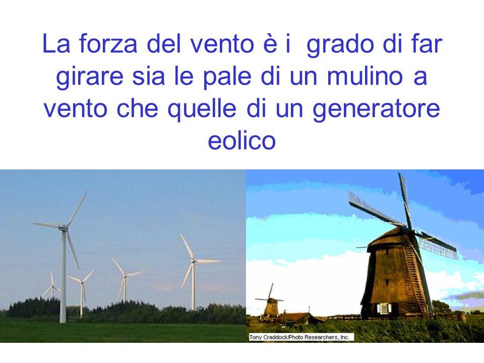 La forza del vento è i grado di far girare sia le pale di un mulino a vento che quelle di un generatore eolico