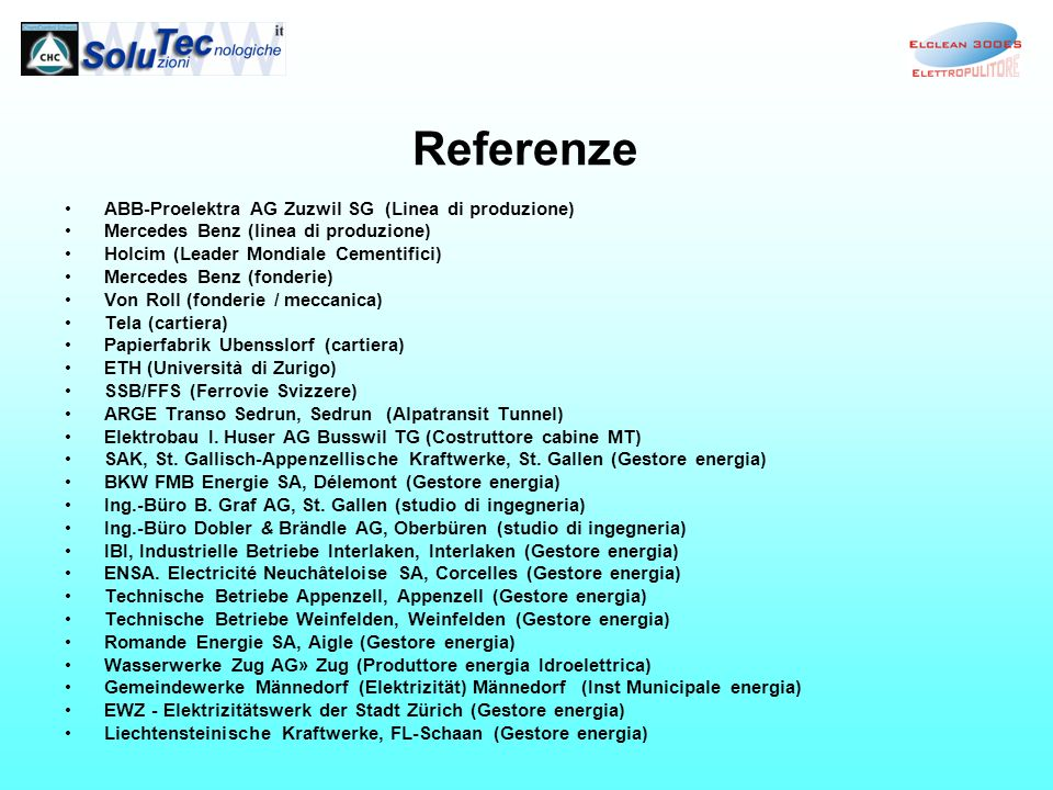 Referenze ABB-Proelektra AG Zuzwil SG (Linea di produzione)