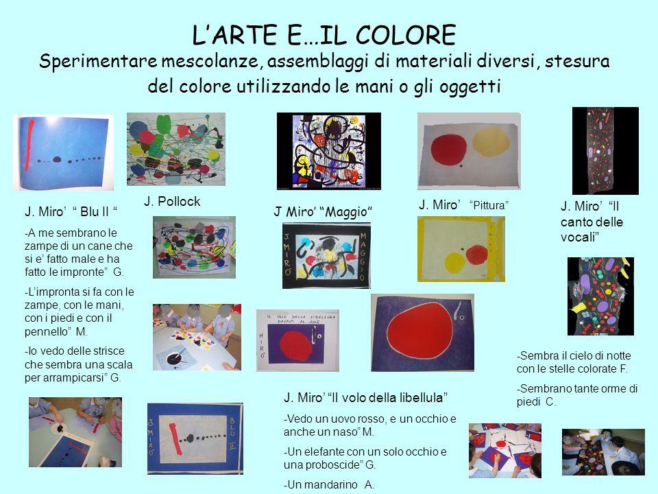 L'ARTE E…IL COLORE Sperimentare mescolanze, assemblaggi di materiali diversi, stesura del colore utilizzando le mani o gli oggetti