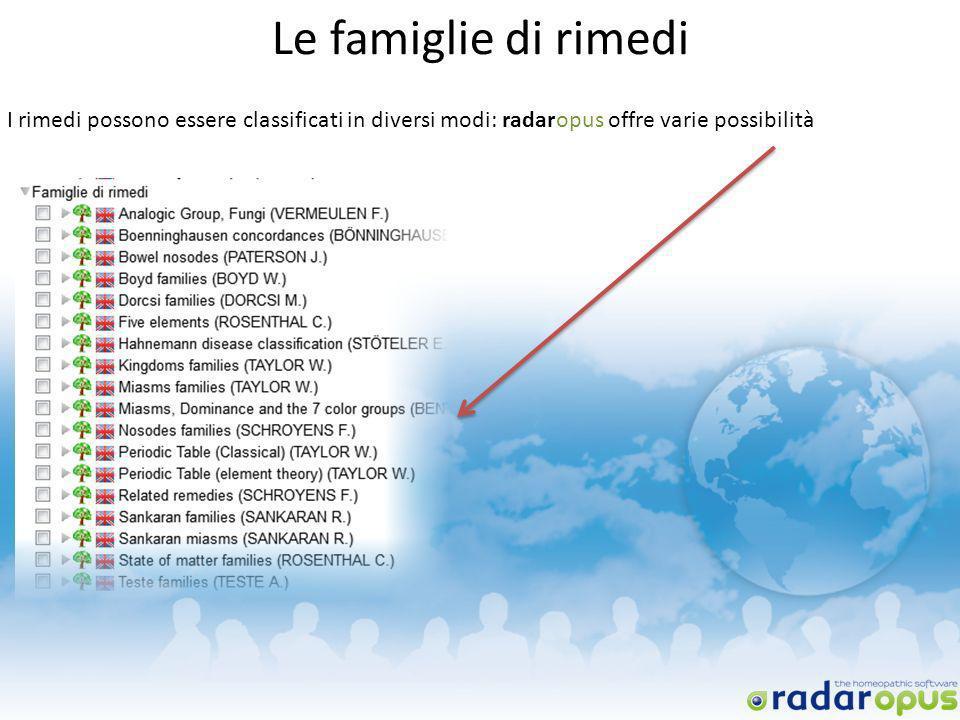 Le famiglie di rimedi I rimedi possono essere classificati in diversi modi: radaropus offre varie possibilità.