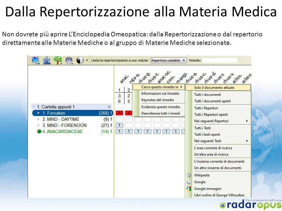 Dalla Repertorizzazione alla Materia Medica