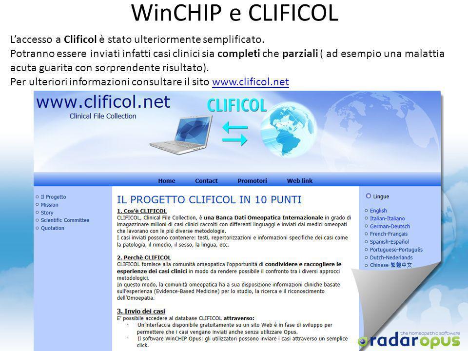 WinCHIP e CLIFICOL L'accesso a Clificol è stato ulteriormente semplificato.