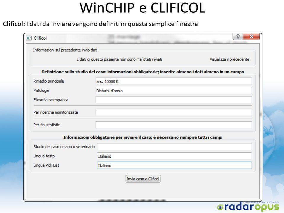 WinCHIP e CLIFICOL Clificol: I dati da inviare vengono definiti in questa semplice finestra