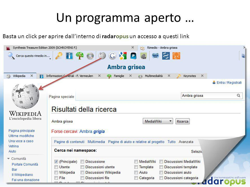 Un programma aperto … Basta un click per aprire dall'interno di radaropus un accesso a questi link