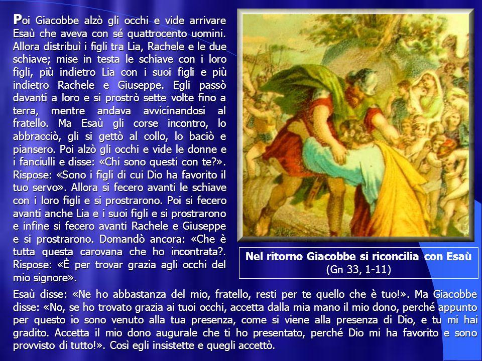 Nel ritorno Giacobbe si riconcilia con Esaù (Gn 33, 1-11)