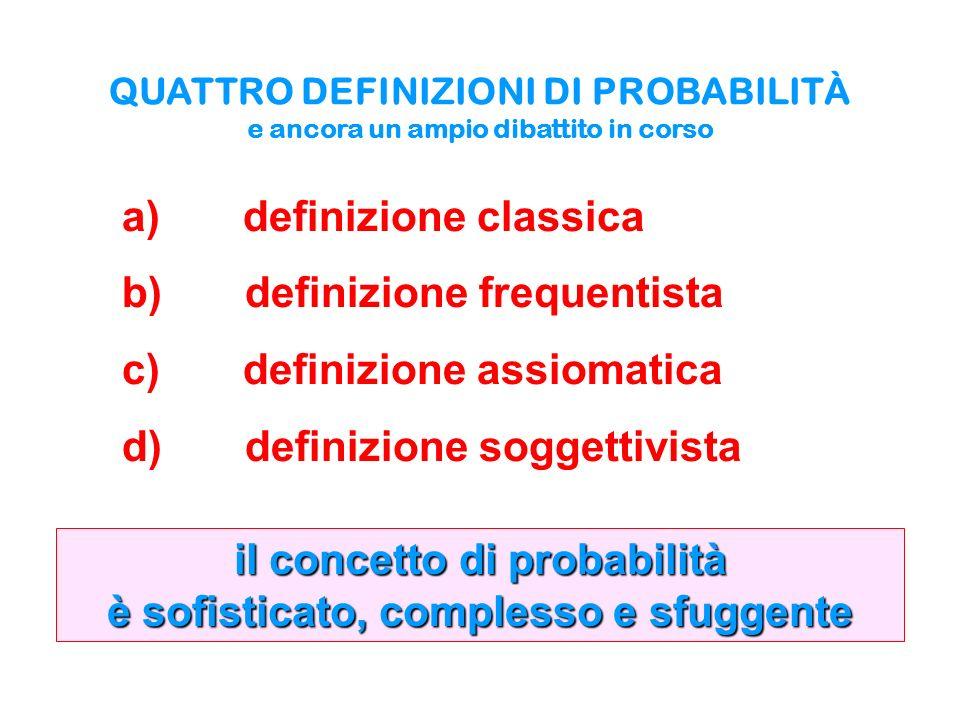 il concetto di probabilità è sofisticato, complesso e sfuggente