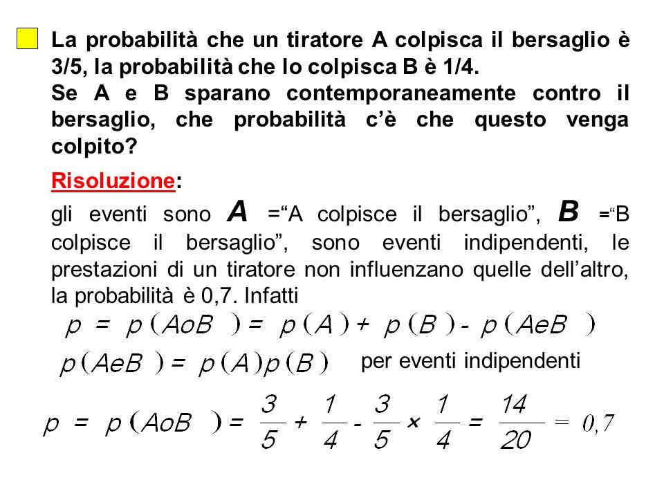 La probabilità che un tiratore A colpisca il bersaglio è 3/5, la probabilità che lo colpisca B è 1/4.