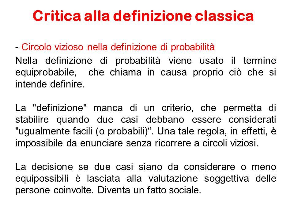 Critica alla definizione classica