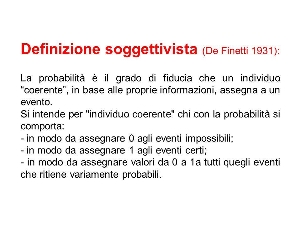 Definizione soggettivista (De Finetti 1931):