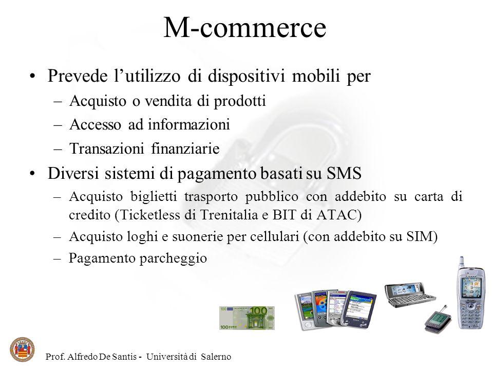 M-commerce Prevede l'utilizzo di dispositivi mobili per
