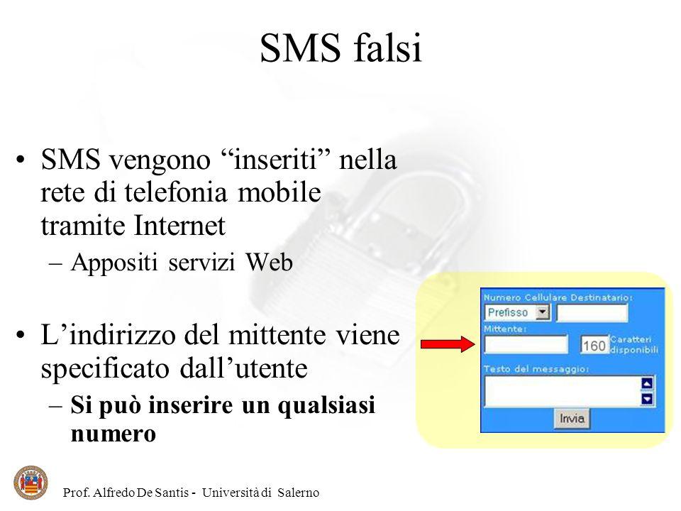 SMS falsi SMS vengono inseriti nella rete di telefonia mobile tramite Internet. Appositi servizi Web.