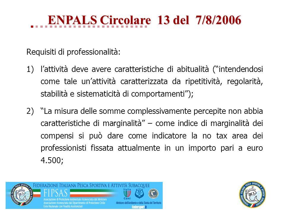 ENPALS Circolare 13 del 7/8/2006
