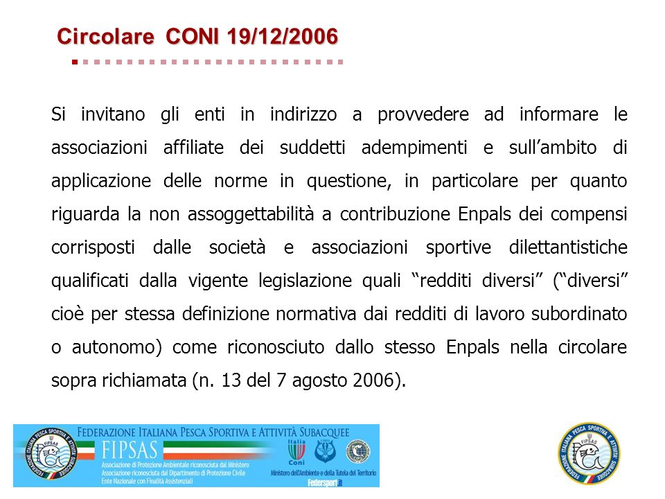 Circolare CONI 19/12/2006