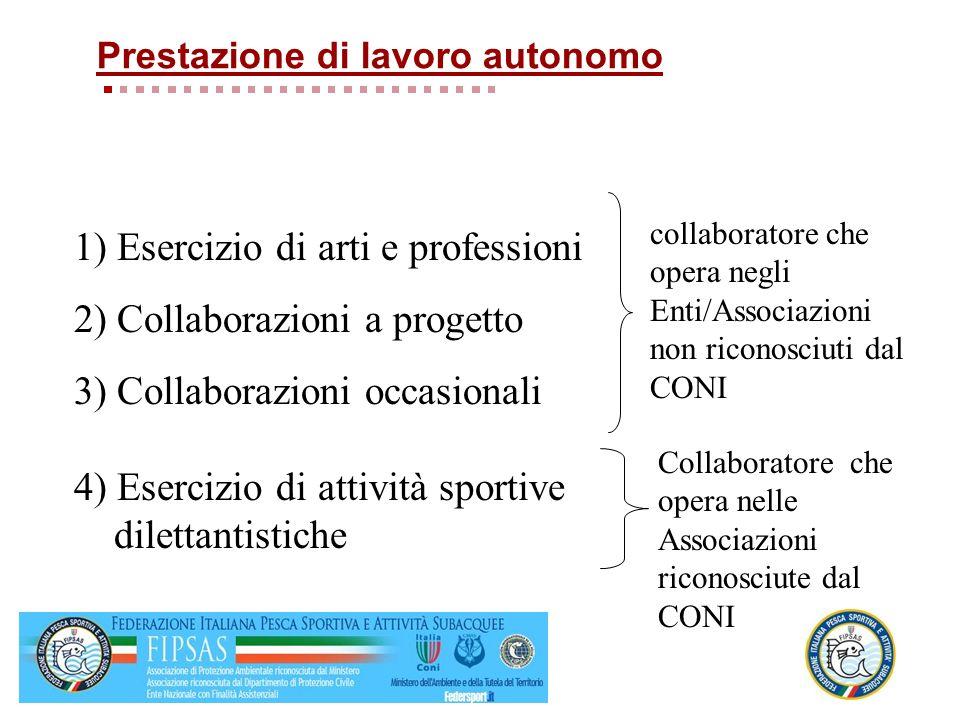 1) Esercizio di arti e professioni 2) Collaborazioni a progetto