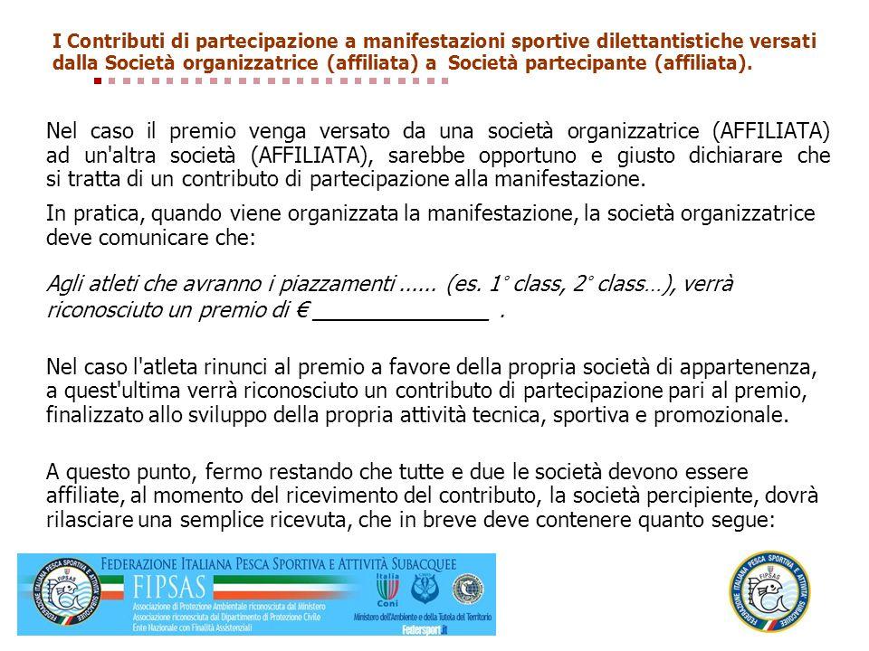 I Contributi di partecipazione a manifestazioni sportive dilettantistiche versati dalla Società organizzatrice (affiliata) a Società partecipante (affiliata).