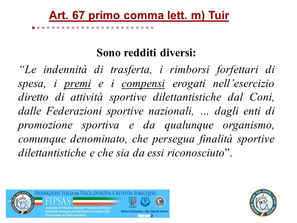 Art. 67 primo comma lett. m) Tuir