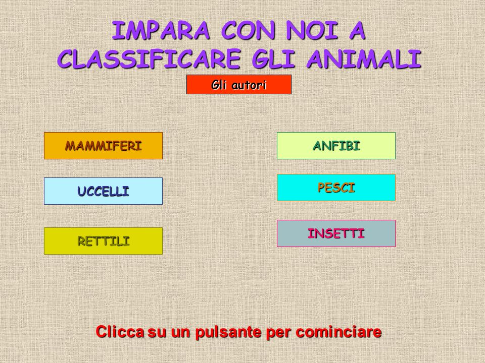 IMPARA CON NOI A CLASSIFICARE GLI ANIMALI