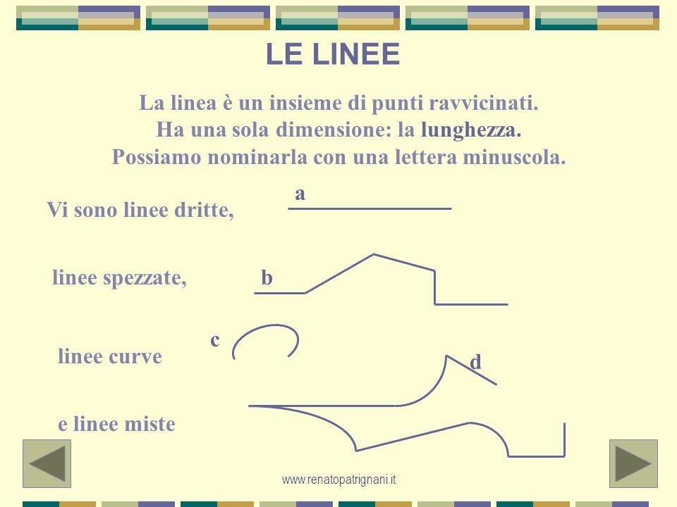 LE LINEE La linea è un insieme di punti ravvicinati. Ha una sola dimensione: la lunghezza. Possiamo nominarla con una lettera minuscola.