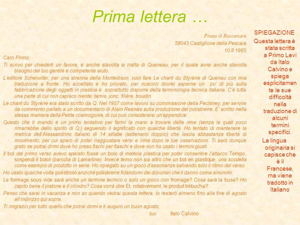 Prima lettera … SPIEGAZIONE