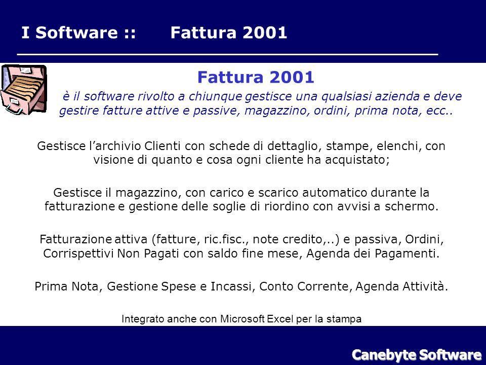 I Software :: Fattura 2001 Fattura 2001 Canebyte Software