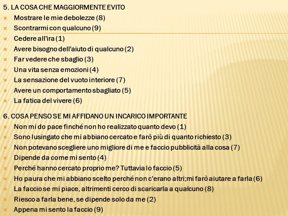 5. LA COSA CHE MAGGIORMENTE EVITO