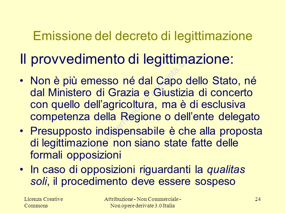 Emissione del decreto di legittimazione
