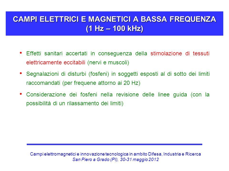CAMPI ELETTRICI E MAGNETICI A BASSA FREQUENZA (1 Hz – 100 kHz)