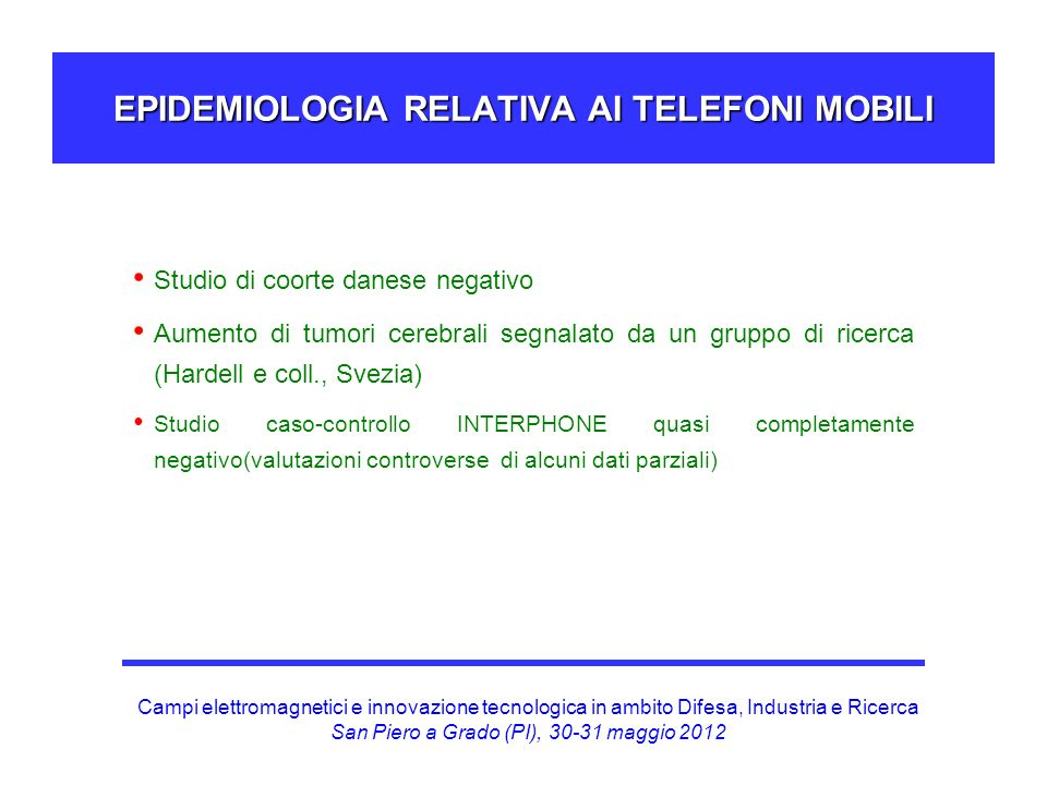 EPIDEMIOLOGIA RELATIVA AI TELEFONI MOBILI