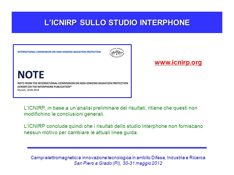 L'ICNIRP SULLO STUDIO INTERPHONE