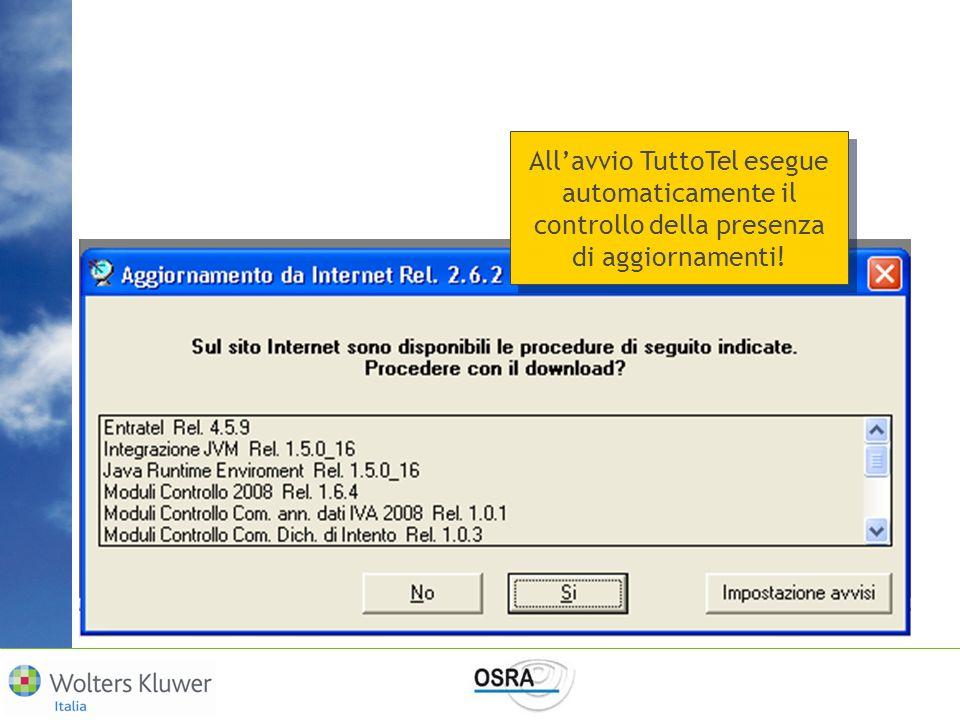 All'avvio TuttoTel esegue automaticamente il controllo della presenza di aggiornamenti!