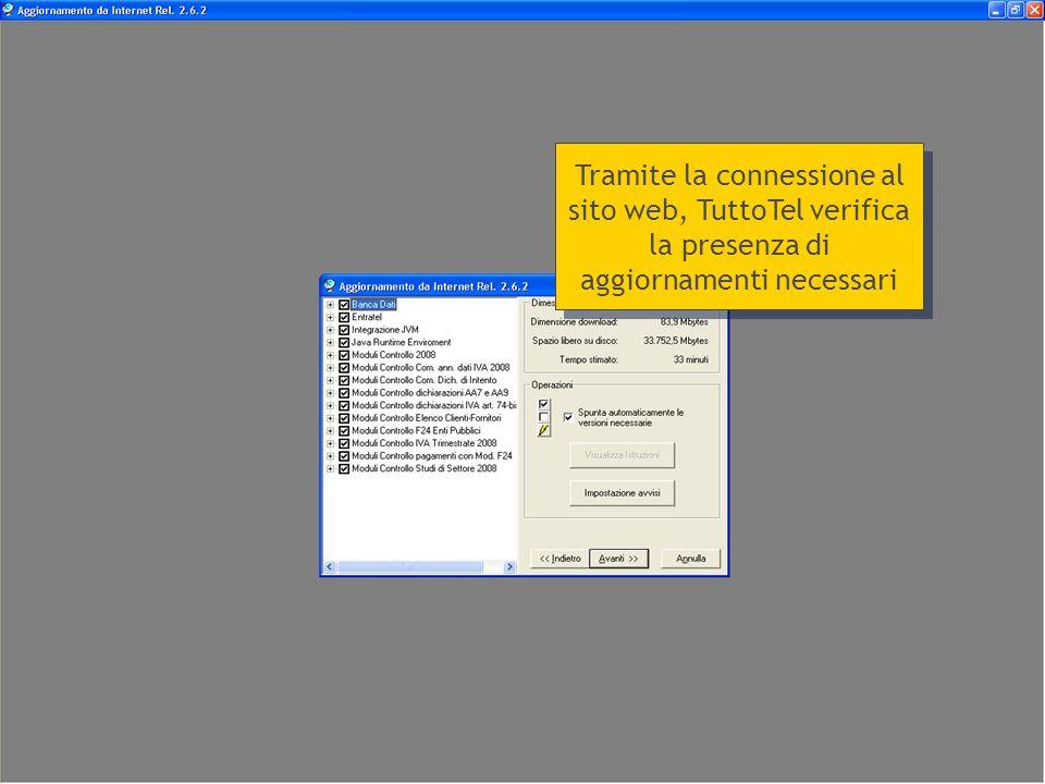 Tramite la connessione al sito web, TuttoTel verifica la presenza di aggiornamenti necessari