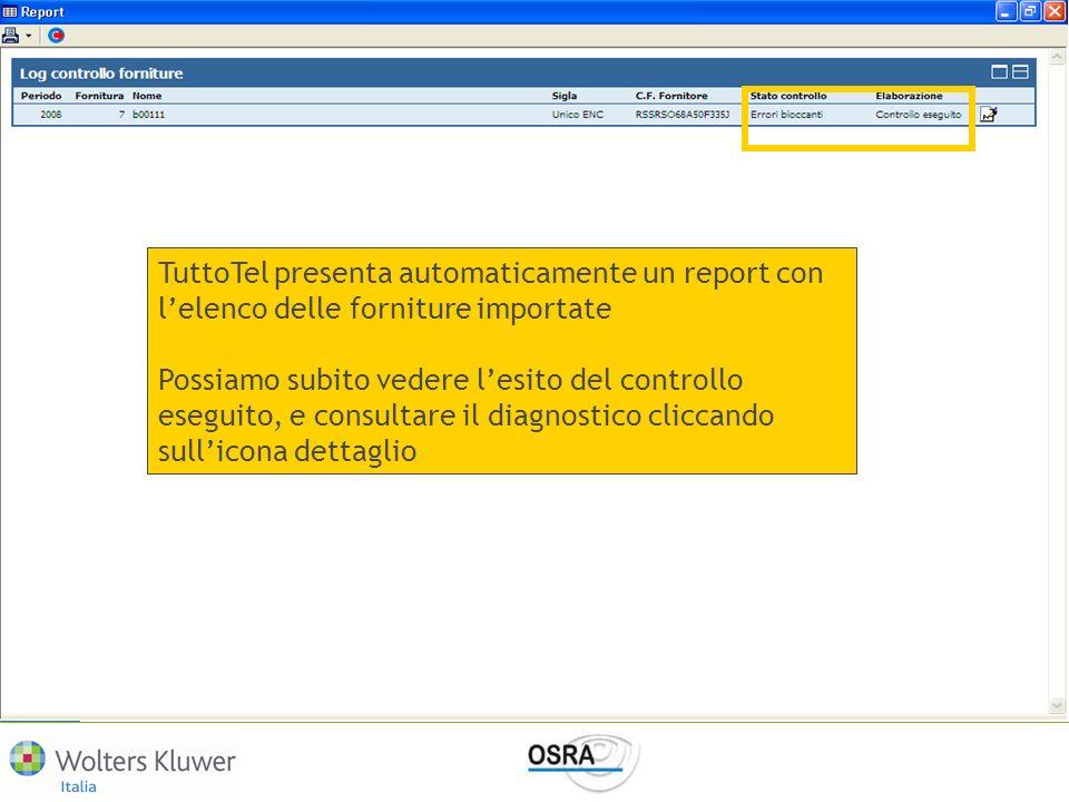 TuttoTel presenta automaticamente un report con l'elenco delle forniture importate
