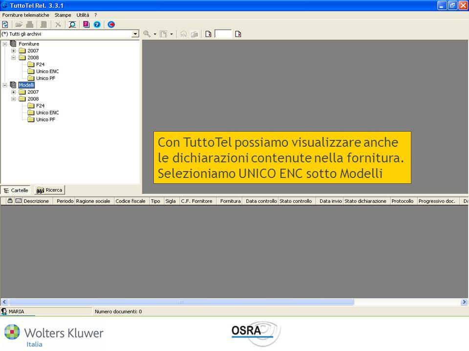 Con TuttoTel possiamo visualizzare anche le dichiarazioni contenute nella fornitura.